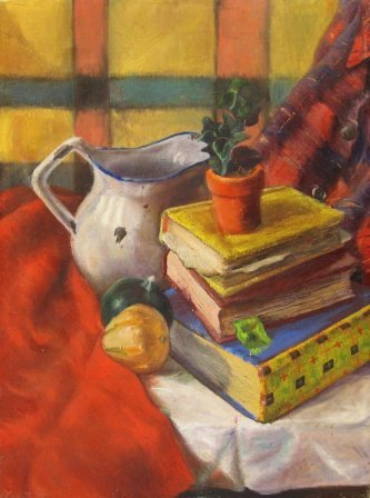 Still Life with Books (1947). Oil. Charles Marchant Stevenson