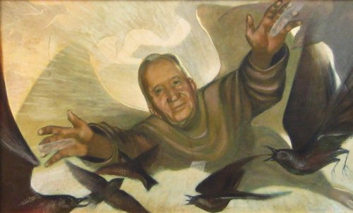 "Father Abbott (1961). Charles Marchant Stevenson paints his boyhood mentor as an angelic presence, arms outstretched in blessing, healing light radiating from his palms. Egg tempera (22""x 36""). SKU: CS196100*"