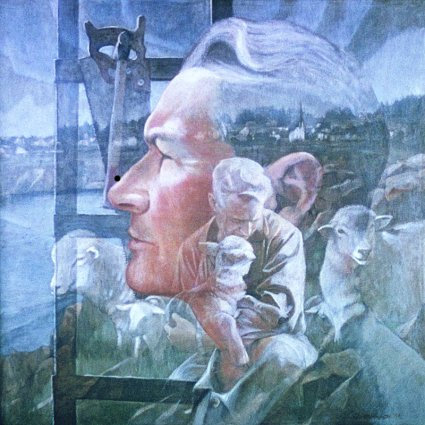 "Mendocino Shepherd: Portrait of Thorkild Thompson by Charles Marchant Stevenson. Acrylic on canvas (36"" x 36""). SKU: CS196705"