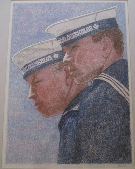 Student Sailors, Royal Danish Navy by Charles Marchant Stevenson (c.1967). Crayon on paper. CS196710