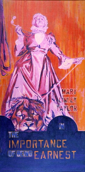"Charles Marchant Stevenson paints Mary Linley Taylor as Lady Augusta Bracknell in the 1968 Mendocino production of The Importance of Being Earnest. Acrylic on canvas. (72"" x 30""). SKU: CS196815"
