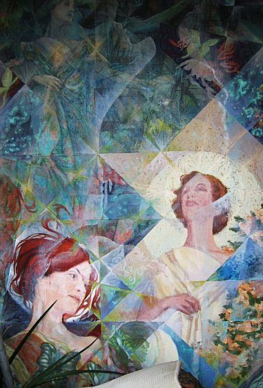 "Sandra Hawthorne as Titania (1968) (detail). Charles Marchant Stevenson captures enchanting aspects of actress Sandra Hawthorne. She wears a vintage gown from the House of Worth, borrowed from Mendocino Headlands preservationist, and fellow actress, Betty Thompson. Acrylic on canvas covered wood panel (108"" x 60""). SKU: CS196825"