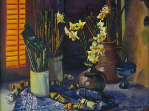 Still Life with Daffodils, Paints, and Brushes by Charles Marchant Stevenson (1969). Acrylic. SKU: CS196910