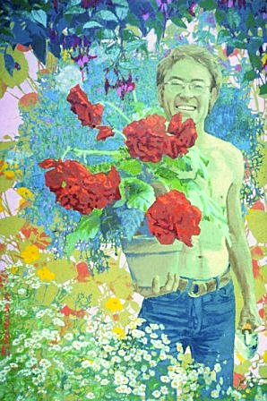 "The Gardener: Henry Horton by Charles Marchant Stevenson (1970). Mendocino Coast master gardener Hank Horton, not just a man with a green thumb, but a Green Man, the embodiment of Earth's cycles of renewal. Acrylic on canvas (48"" x 32""). SKU: CS1970"