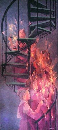 "Ascent: Portrait of Irma Gillespie by Charles Marchant Stevenson (1970). Acrylic on canvas (48"" x 32""). SKU: CS197010"