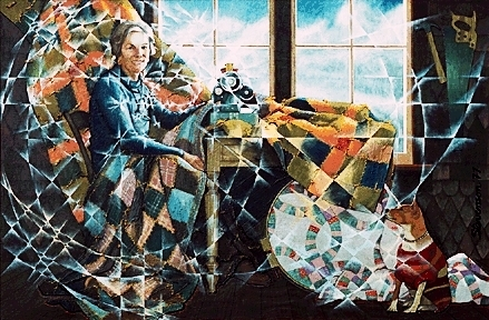 Quilting by Charles Marchant Stevenson (1970). Acrylic. CS197012
