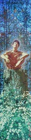 Tony in the Wood: Portrait of Tony Wood by Charles Marchant Stevenson (1970). Acrylic. SKU: CS197040