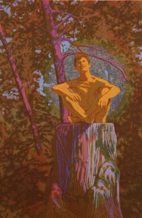 Tony in the Wood: Portrait of Tony Wood by Charles Marchant Stevenson (1970). Serigraph, edition of 36. SKU: CS197040