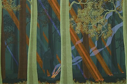 "Campfire by Charles Marchant Stevenson (1971). Shafts of early spring sunlight penetrate the redwood canopy; a man warms himself at his campfire up Big River. Serigraph (20"" x 26""), edition of 47. SKU: CS197101"