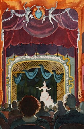 "Jane Rhodes at the Palais Royal by Charles Marchant Stevenson (1972). Painted from memory the morning after Charles Marchant Stevenson, and companion Arnold Borley, attended French mezzo-soprano Jane Rhodes' concert in Paris. Gouache (24"" x 16""). SKU: CS197203"