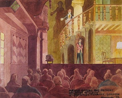 "Sleuth at Saint Martin's by Charles Marchant Stevenson (1972). Inscription: Marius Goring and Anthony Valentine in ""Sleuth"" at St. Martin's Theater, London. Gouache (16.5"" x 26.5""). SKU: CS197205"
