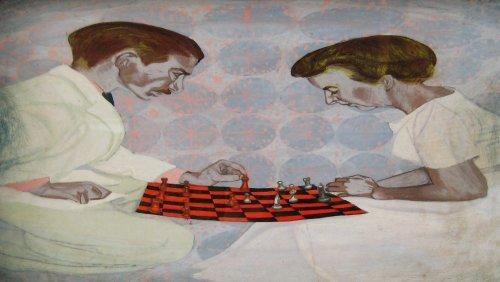 Chess Match: My Parents by Charles Marchant Stevenson (1972). Portrait of Charles M. Stevenson II and Mildred Stevenson. SKU: CS197210
