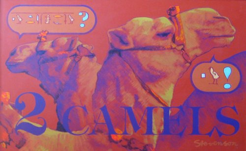 "2 Camels (1996). Charles Marchant Stevenson eavesdrops on a pair of camels checking out chicks. Translation: Camel #1 - ""Which one do you like?"" Camel #2 - ""That one, definitely!"" Acrylic on canvas (30"" x 48"" ). SKU: CS199635"