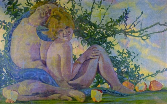 Adam and Eve by Charles Marchant Stevenson (1974). Acrylic on canvas covered wood panel. SKU: CS197410