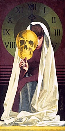 Renaissance by Charles Marchant Stevenson (1975). Oil on canvas covered wood panel (48x24). SKU: CS197507