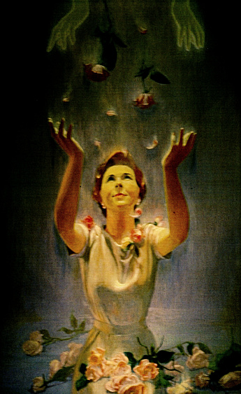 Manna by Charles Marchant Stevenson (1975). Stevenson describes the subject: a woman receiving roses from her inner being. Acrylic on canvascovered wood panel. SKU: CS197515