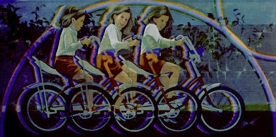 A Girl on her Bike by Charles Marchant Stevenson (1975). Acrylic on canvas covered wood panel. SKU: CS197520