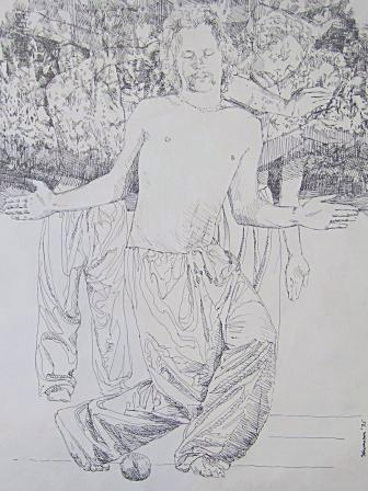 "Nirvana by Charles Marchant Stevenson (1975). Subject is artist Tom Burnham. Original, pen and ink (24"" x 20"") . Full size lithograph: SKU: CS197552"
