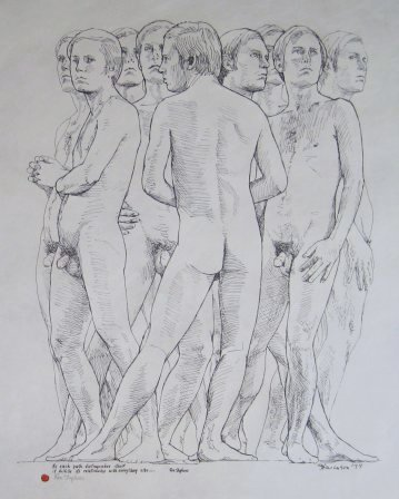 """Portrait of Ron Stephens by Charles Marchant Stevenson (1975). Signed by artist and the subject. Inscription in Ron Stephens' hand: """"As each path distinguishes itself it fulfills its relationship with everything else..."""" Original, pen and ink (24"""" x 20"""") . Full size lithograph: SKU: CS197552"""