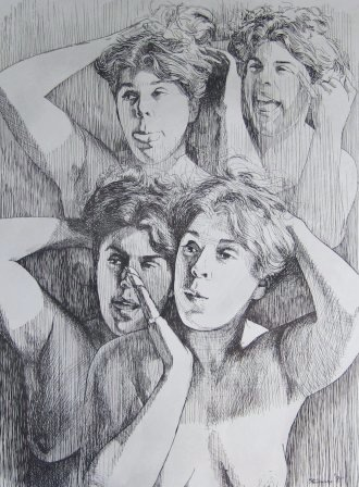 "Young Woman at Her Mirror by Charles Marchant Stevenson (1975). Pen and ink drawing (24"" x 20""). Full size lithograph: SKU: CS197554"