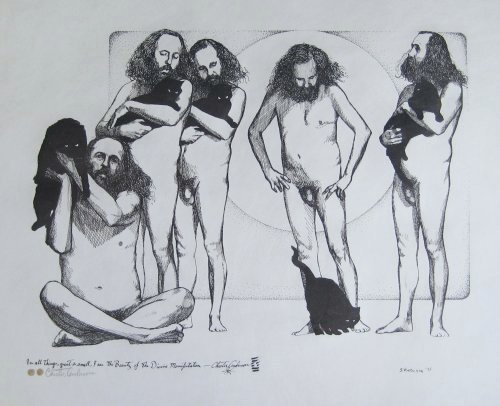 "Chester Anderson: Beauty of the Divine Manifestation by Charles Marchant Stevenson (1975). inscription is in Chester Anderson's hand: ""In all things, great and small, I am the Beauty of the Divine Manifestation."" In Charles Marchant Stevenson's multiple portrait of Chester Anderson, the artist refers to Renaissance allegorical painting in which the figure of Truth is presented naked, Truth having nothing to hide. Charles Marchant Stevenson is the illustrator of Chester Anderson's cinematic novel of Greenwich Village in 1964, Fox and Hare: the story of a Friday evening (Entwhistle Books, 1980). Pen and ink drawing, hand signed and dated, and pencil signed by Chester Anderson (20"" x 24""). Full size lithograph reproduction: SKU: CS197555"