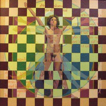 "monologue with leonardo da vinci by Charles Marchant Stevenson (1976). Acrylic (48"" x 48""). SKU: CS197605"