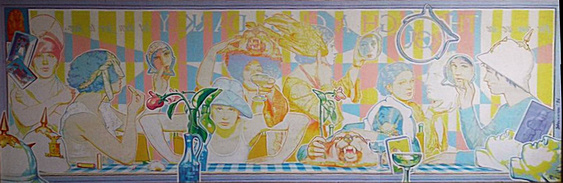 "Through a Glass Darkly: Jean Spetrino montage by Charles Marchant Stevenson (1976). Acrylic (24"" x 48""). SKU: CS197610"