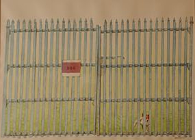 Minnie at the Gate (Beware of Dog) by Charles-Marchant-Stevenson (1985). Watercolor. SKU: CS198520