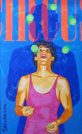 "Circus: Donald Strauss by Charles Marchant Stevenson (1988). Acrylic on canvas (48"" x 30""). Original artist's frame. SKU: CS198802 *"