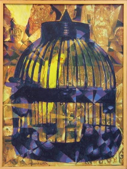 Coal Miner's Canary (1988). Handsigned on reverse: Stevenson Leach Studios. Charles Marchant Stevenson and Matt Leach suggest the moment when the canary's song falls silent. Acrylic on canvas. SKU: CS198804