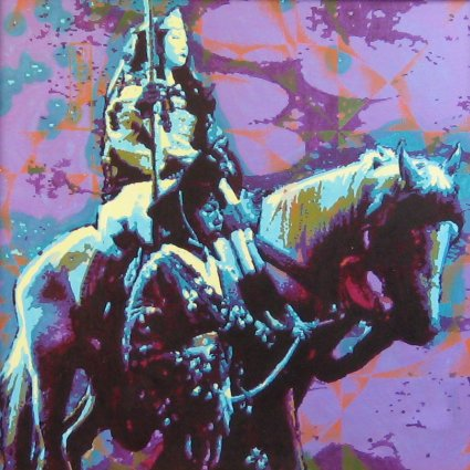 """Warrior Woman: Tomo-e Gozen (1988). The medieval Japanese epic, The Tale of the Heike, describes Tomo-e Gozen as """"especially beautiful, with long hair, and charming features ... a warrior worth a thousand, ready to confront a demon or a god, mounted or on foot. She handled unbroken horses with superb skill; she rode unscathed down perilous descents. Whenever a battle was imminent, Yoshinaka sent her out as his first captain...and she performed more deeds of valor than any of his other warriors."""" - Helen McCullough, translator. The warrior rides toward battle carrying the naginata, a pole weapon effective in cavalry battles. Acrylic on canvas (24"""" x 24""""). Handsigned: Stevenson. Stevenson/Leach Studios. Original artist's frame. SKU: CS198805*"""