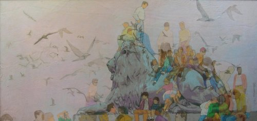 "Trafalgar Lion (1990). A celebration of the cheerful fun of climbing one of the magnificent Trafalgar Square lions. Acrylic on canvas (34"" x 72""). Hand signed: Stevenson. Stevenson/Leach Studios. Original artist's frame. SKU: CS199005*"