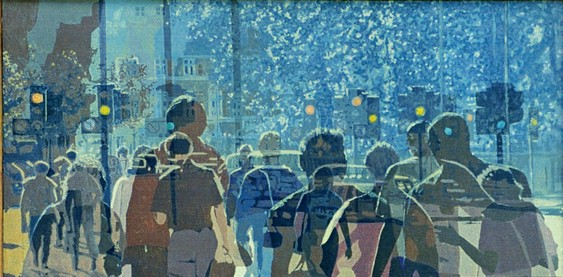 Time-Lapse London (1990). Acrylic on canvas covered wood panel (25.5 x 49.5). SKU: CS199007