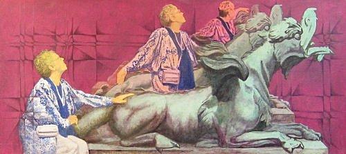 "Dreaming of Dragons (1990). Charles Marchant Stevenson and Matt Leach offer a light-hearted variation on the theme of travel. The subject is Roberta Chipps Whiteside. Acrylic on canvas (21"" x 48""). Signed on back: Stevenson/Leach. Original artist's frame. SKU: CS199011*"