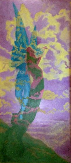 Cupid and Psyche (1990) Acrylic. Signed: Leach 90. Stevenson/Leach Studios. Original artist's frame. SKU: CS199025*