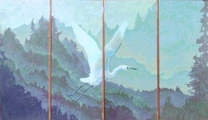 Dawn on Big River is a four-panel screen by Matt Leach and Charles Marchant Stevenson (1990). The vantage is high above Big River southeast of Mendocino village. The reverse image is similar, but not identical. It is one of a small number of large double-sided folding screens created by Stevenson/Leach Studios. Medium: acrylic paint applied to gessoed cheesecloth on wood panels, with brass hardware. SKU: CS199020