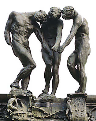 The Three Shades, detail from the Gates of Hell at the Rodin Museum, Hotel Biron, Paris (1880).