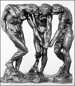 The Three Shades, Auguste Rodin's stand-alone cast bronze enlargement of the grouping at the top of his Gates of Hell.
