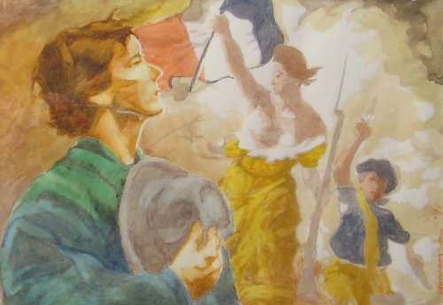 "Liberty (1991). With reverence, a young man salutes Liberty, and honors those fallen in her cause. Background: Eugene Delacroix's masterwork Liberty Leading the People. The model is Stevenson/Leach partner Matt Leach. Gouache (10"" x 13""). Signed: Stevenson '91. Stevenson/Leach Studios. Mat and narrow gold metal frame.SKU: CS199120"