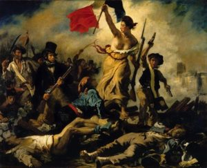 Liberty Leading the People by Eugène Delacroix (1830), commemorating France's July Revolution of 1830. The painting has been moved from the Louvre in Paris to the new Louvre-Lens museum in Lens, Pas-de-Calais (2012). Oil on canvas (9.8' x 11.9').