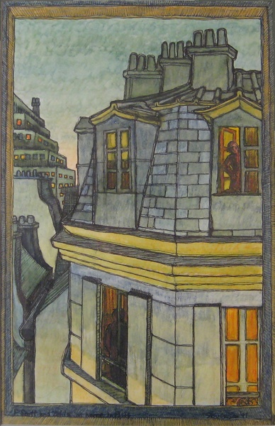 Garret (1991). Charles Marchant Stevenson and Matt Leach commemorate sightings of Zelda and F. Scott Fitzgerald, their ghosts relocated from the Ritz, and still spatting, in a Parisian garret high on the corner of rue Tournefort and rue du Pot de Fer. Inscription: F.Scott and Zelda at home in Paris. Watercolor (14 x 10). Signed: Stevenson '91. Stevenson/Leach Studios. White mat and narrow gold metal frame. SKU: CS199122*