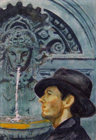"Matt Leach in Paris. Watercolor (14"" x 11""). Signed: Stevenson '91. Stevenson/Leach Studios. Mat and narrow gold metal frame. SKU: CS199125*"