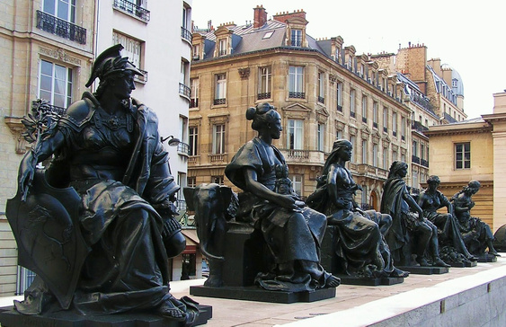 The Continents in the courtyard of the musée d'Orsay (left to right): l'Europe by Alexandre Schœnewerk, l'Asie (Alexandre Falguière), l'Afrique by Eugène Delaplanche, l'Amérique du Nord by Ernest Eugène Hiolle, l'Amérique du Sud by Aimé Millet, and l'Océanie (Australia) by Mathurin Moreau. Photo: Kirsten Steen