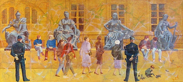 "Back in Town: Europa & the Girls (1992). Acrylic on canvas (21"" x 48""). Signed on the back: Stevenson/Leach. Original artist's frame. SKU: CS199212*"