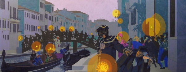 "Carnival in Venice (1994) is a study for a planned, but unrealized, large folding screen. In early twilight, masked Carnival revelers throng the alleys and bridges of Venice. Acrylic on canvas (32"" x 80""). Signed on reverse: Stevenson/Leach. Stevenson/Leach Studios. SKU: CS199421*"