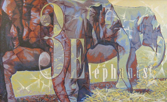 "3 Elephants (1994). Acrylic on canvas (30"" x 48""). Signed: Stevenson '94. Stevenson/Leach Studios. Original artist's frame. SKU: CS199422*"