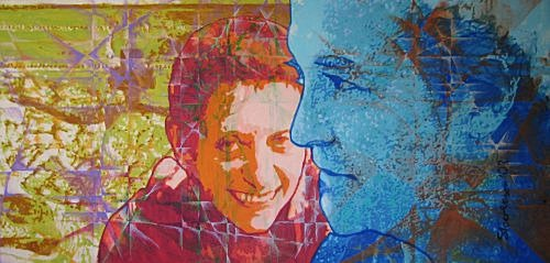 """The Poet and the Artist: a portrait of jazz poet ruth weiss and California artist Paul Blake by Charles Marchant Stevenson (2002). Everything changes, but the painting, and ruth weiss's companion poem, stand testament to a special time, and a relationship in which the whole was greater than its parts. Acrylic on canvas (24"""" x 48""""). Hand signed: Stevenson. SKU: CS200202."""