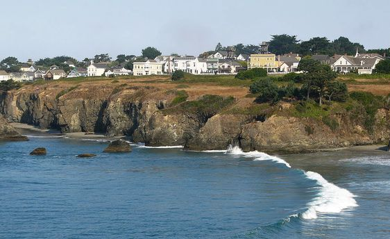 The village of Mendocino,. Looking north across Mendocino Bay. Phot by Jef Poskanzer.