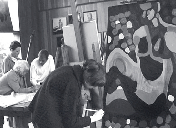 Charles Marchant Stevenson (center rear) in his studio at the Mendocino Art Center (1965). Photo by Bill Foote.