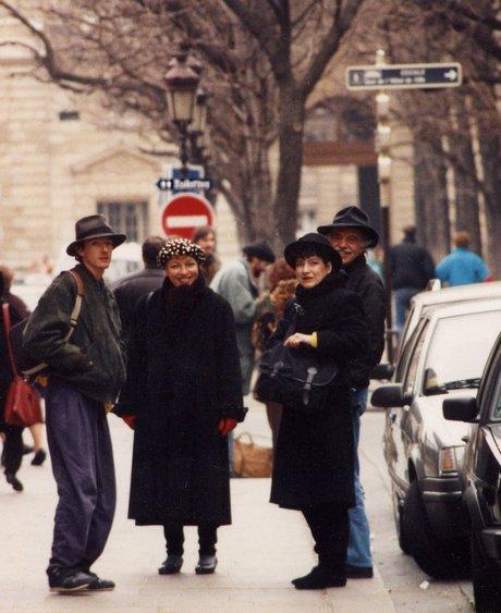 Left to right: Matt Leach, Isis Hall, Carol Goodwin Blick, Charles Marchant Stevenson (Paris 1991). Photo by Bob Blick.